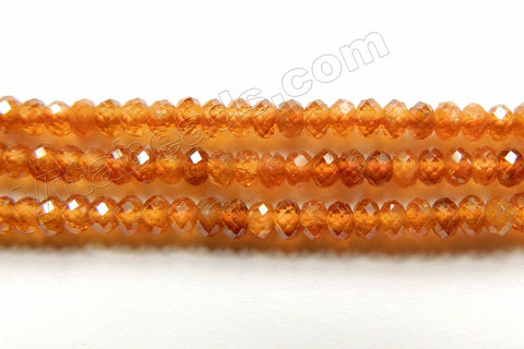 Orange Garnet Natural AAA  -  Small Faceted Rondel  15""