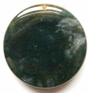 Smooth Round Pendant Fancy Jasper - Dark Green