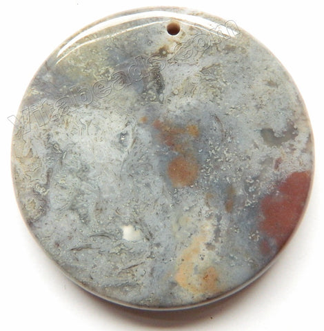 Smooth Round Pendant Fancy Jasper - Light Grey
