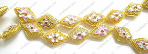 Cloisonne Beads - Gold 15x20mm Diamond - 1790
