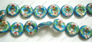 Cloisonne Beads - Aqua Blue - 20mm Donut #1881