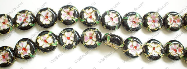 Cloisonne Beads - 16mm Coin - Black