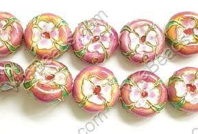 Cloisonne Beads - 16mm Coin - Pink