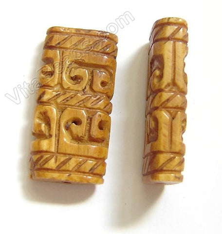 Carved Bone Beads - Rectangle - 15x30x6mm #122