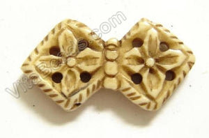 Carved Bone Beads - Bowtie - 17x32x7mm #108