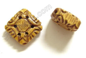 Carved Bone Beads - Double Side Diamond - 20x7mm #21