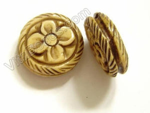 Carved Bone Beads - Flower Coin - 18x7mm #11
