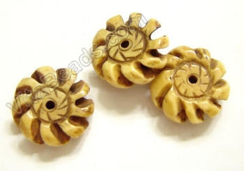 Carved Bone Beads - Flower Disc - 17x5mm #18