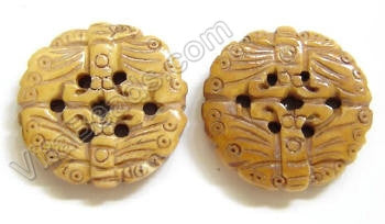 Carved Bone Beads - Double Butterfly Coin - 24x5mm #104