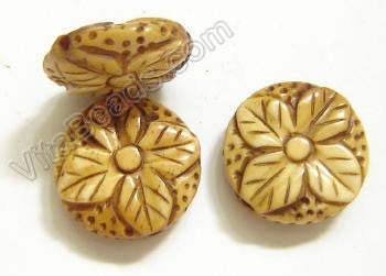 Carved Bone Beads - Flower Coin - 18x5mm #22