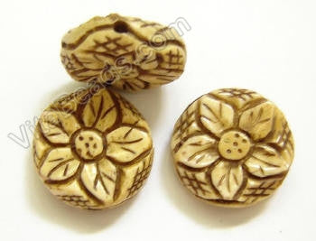 Carved Bone Beads - Flower Coin - 18x7mm #25