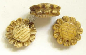 Carved Bone Beads - Sunflower Coin - 17x6mm #15