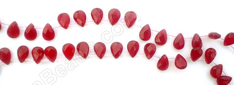 Red Win. Quartz - 7x10mm Faceted Flat Briolette 16""