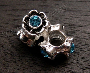 Metal Charm - 5mm hole Aquamarine Flower on 3 side A - 031