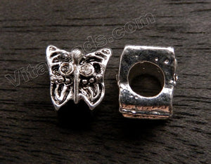 Metal Charm - 5mm hole Butterfly w clear Crystal A - 243
