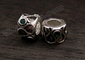Metal Beads - 5mm hole S Tube with Emerald Crystal A - 137
