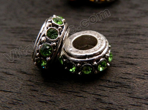 Metal Beads - 5mm hole Roundel with Peridot Crystal A - 003