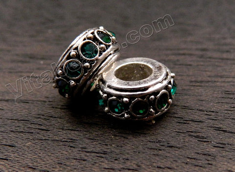 Metal Beads - 5mm hole Roundel with Emerald Quartz A - 001