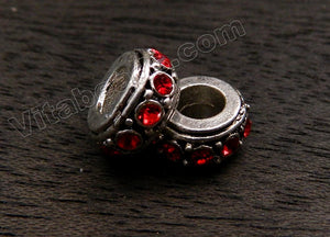 Metal Beads - 5mm hole Roundel with Ruby Crystal A - 002