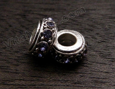 Metal Beads - 5mm hole Roundel with Amethyst Crystal A - 174