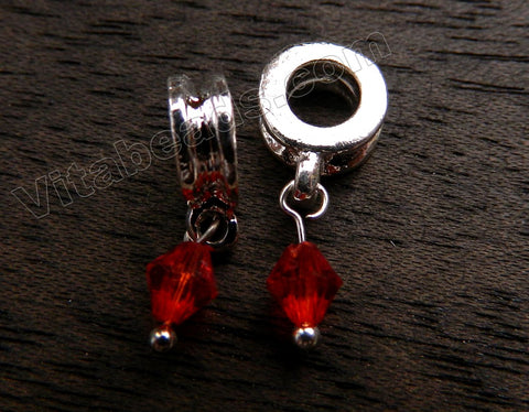 Metal Pendant - 5mm hole Ruby Crystal A - 274
