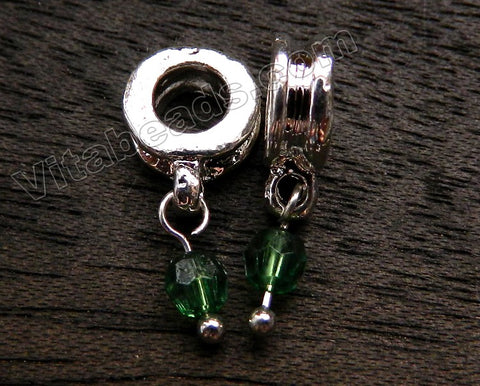 Metal Pendant - 5mm hole Emerald Crystal A - 281