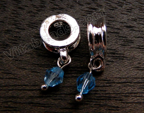 Metal Pendant - 5mm hole London Blue Crystal A - 27