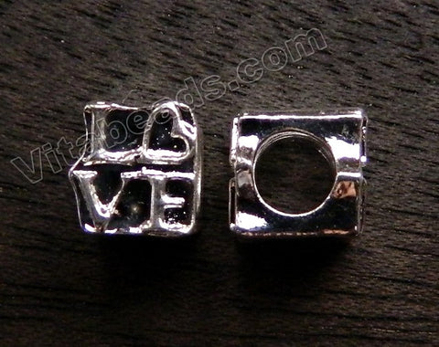 Metal Charm - 5mm hole Love Cube A - 092