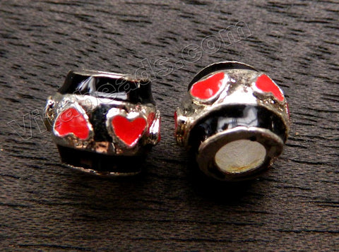 Metal Charm - 5mm hole Red Heart Drum A - 082