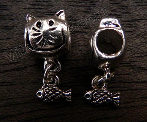 Metal Pendant - 5mm hole Cat & Fish A - 019