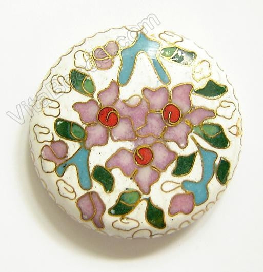 Cloisonne Pendant Round - White - 3 Flower 45 mm