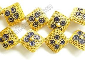 Cloisonne Beads - Gold 20mm Diamond