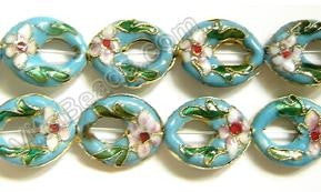 Cloisonne Beads - Aqua Blue - 16x20mm Oval Donut