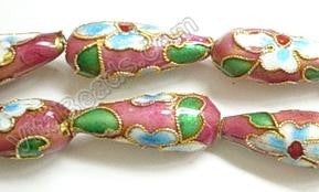 Cloisonne Beads - Rose Pink - 8x20mm Long Teardrop