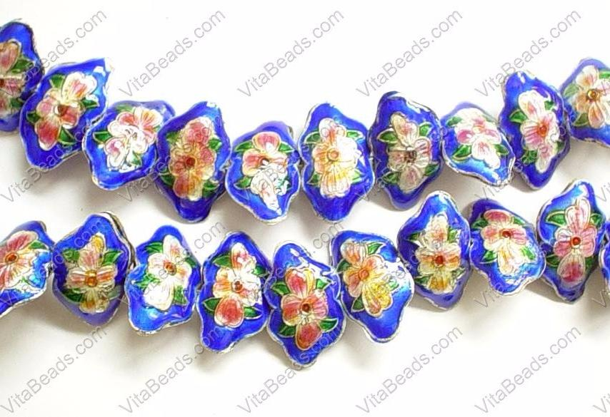 Enamel Beads, Butterfly, Blue EN 1795