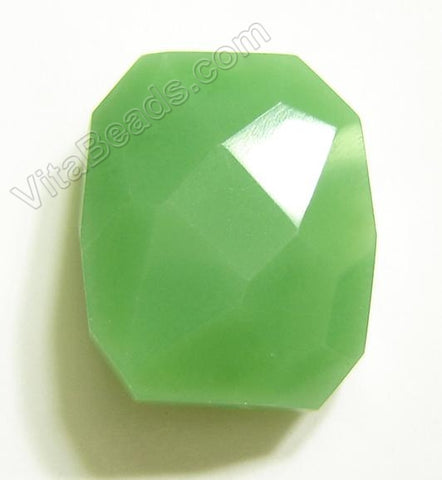 Faceted Nugget Pendant - Olive Green Qtz