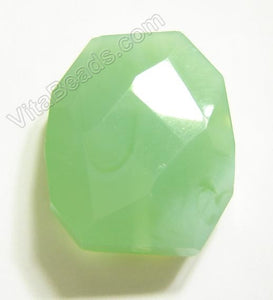 Light Green Chalcedony Quartz - 30x35mm Faceted Nugget Pendant