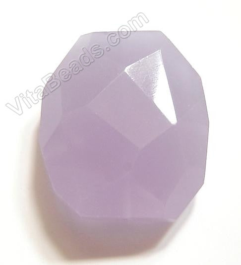 Purple Chalcedony Quartz - 30x35mm Faceted Nugget Pendant