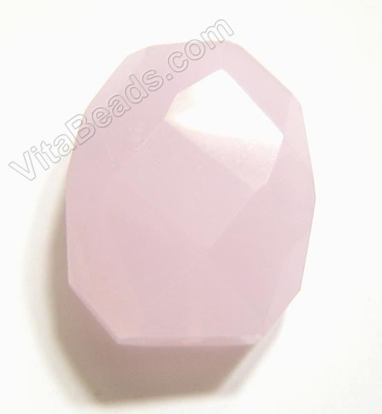 Pink Chalcedony Quartz - 30x35mm Faceted Nugget Pendant