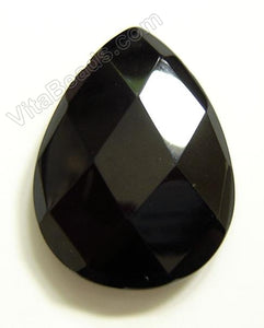 Black Onyx 040 - Faceted Pendant - Briolette