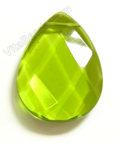 Peridot Green Crystal Quartz - Faceted Pendant - Briolette