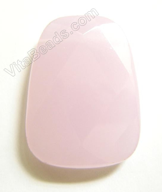 Pink Chalcedony - 30x40mm Faceted Ladder Pendant