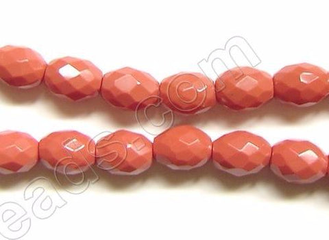 Faceted Rice - 002 Dyed Coral Qtz  16""