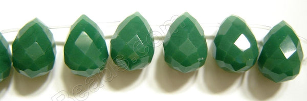 Dark Emerald Quartz   -  18x25mm Faceted Teardrop 8""
