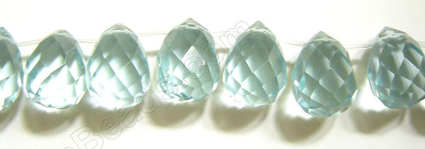 Dark Aqua Crystal Quartz  -  18x25mm Faceted Teardrop 8""