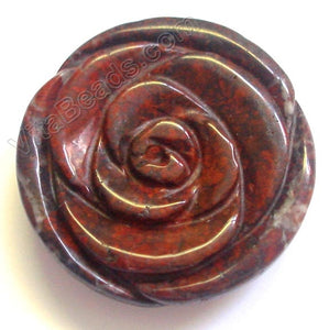 Carved Round Rose pendant - Flower Poppy Jasper