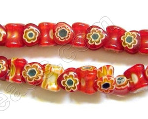 Glass Beads  -  Bone - Red 16""