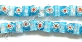 Glass Beads  -  Bone - Aqua Blue 16""