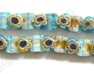 Glass Beads  -  Bone - Blue Yellow 16""
