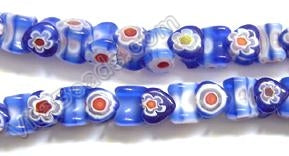 Glass Beads  -  Bone - Dark Blue 16""
